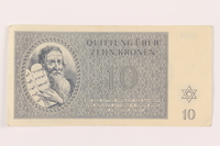 1999.121.17 front Theresienstadt ghetto-labor camp scrip, 10 kronen note  Click to enlarge