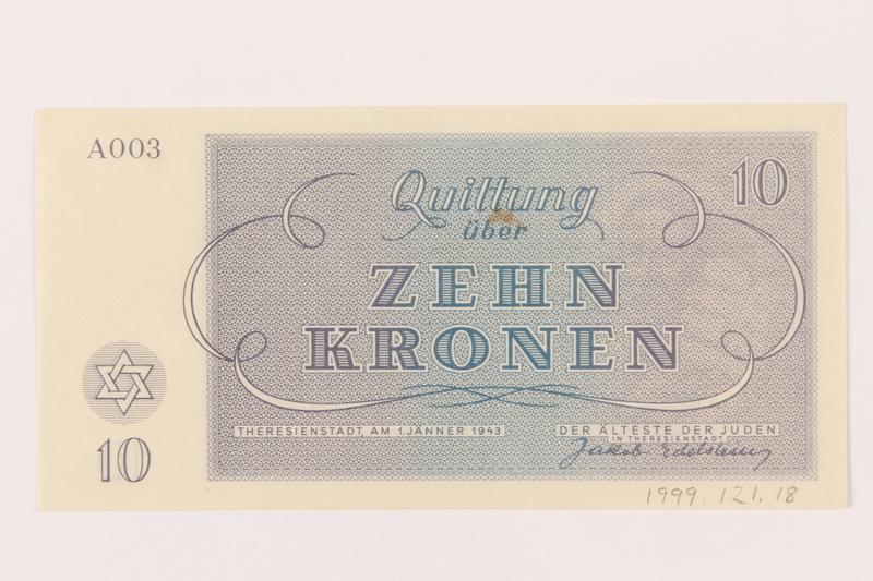 1999.121.18 back Theresienstadt ghetto-labor camp scrip, 10 kronen note