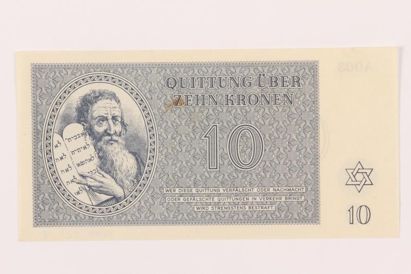 1999.121.18 front Theresienstadt ghetto-labor camp scrip, 10 kronen note