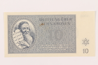 1999.121.18 front Theresienstadt ghetto-labor camp scrip, 10 kronen note  Click to enlarge