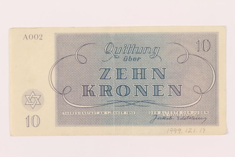 1999.121.19 back Theresienstadt ghetto-labor camp scrip, 10 kronen note