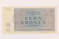 1999.121.19 back Theresienstadt ghetto-labor camp scrip, 10 kronen note  Click to enlarge