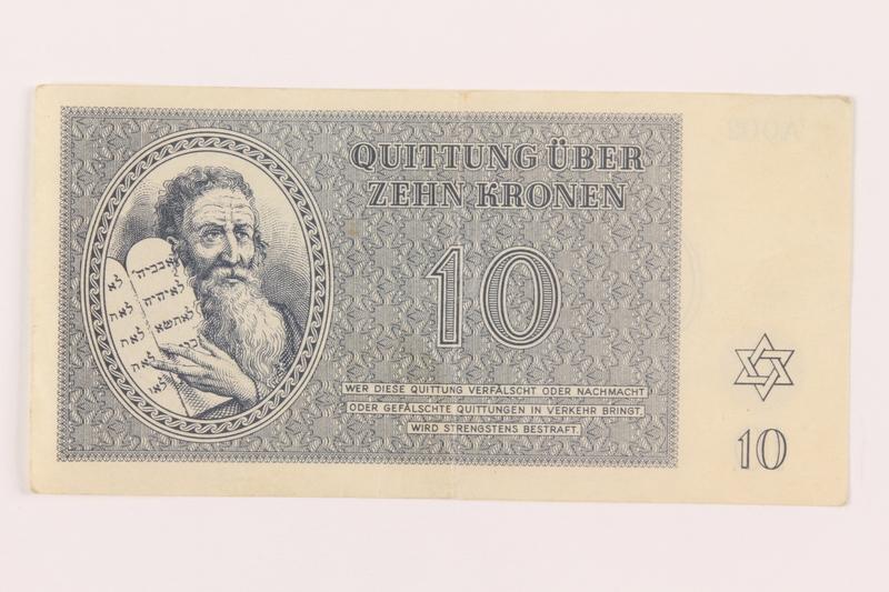 1999.121.19 front Theresienstadt ghetto-labor camp scrip, 10 kronen note
