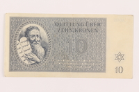 1999.121.19 front Theresienstadt ghetto-labor camp scrip, 10 kronen note  Click to enlarge