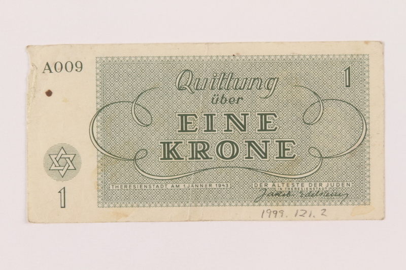 1999.121.2 back Theresienstadt ghetto-labor camp scrip, 1 krone note