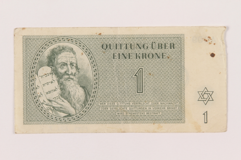 1999.121.2 front Theresienstadt ghetto-labor camp scrip, 1 krone note
