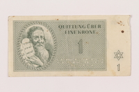 1999.121.2 front Theresienstadt ghetto-labor camp scrip, 1 krone note  Click to enlarge