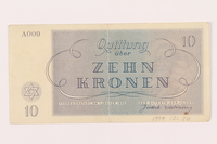 1999.121.20 back Theresienstadt ghetto-labor camp scrip, 10 kronen note  Click to enlarge