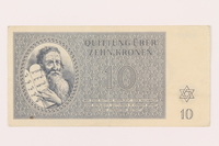 1999.121.20 front Theresienstadt ghetto-labor camp scrip, 10 kronen note  Click to enlarge