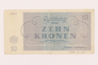 1999.121.21 back Theresienstadt ghetto-labor camp scrip, 10 kronen note  Click to enlarge