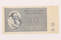 1999.121.21 front Theresienstadt ghetto-labor camp scrip, 10 kronen note  Click to enlarge