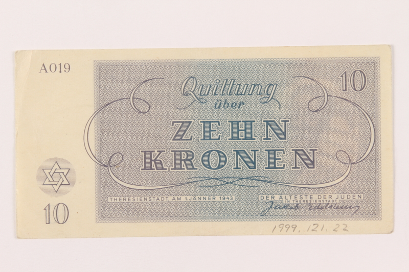 1999.121.22 back Theresienstadt ghetto-labor camp scrip, 10 kronen note