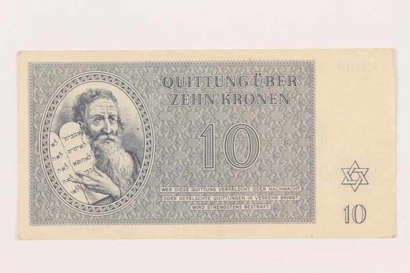 1999.121.22 front Theresienstadt ghetto-labor camp scrip, 10 kronen note