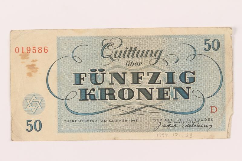 1999.121.23 back Theresienstadt ghetto-labor camp scrip, 50 kronen note