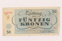 1999.121.23 back Theresienstadt ghetto-labor camp scrip, 50 kronen note  Click to enlarge