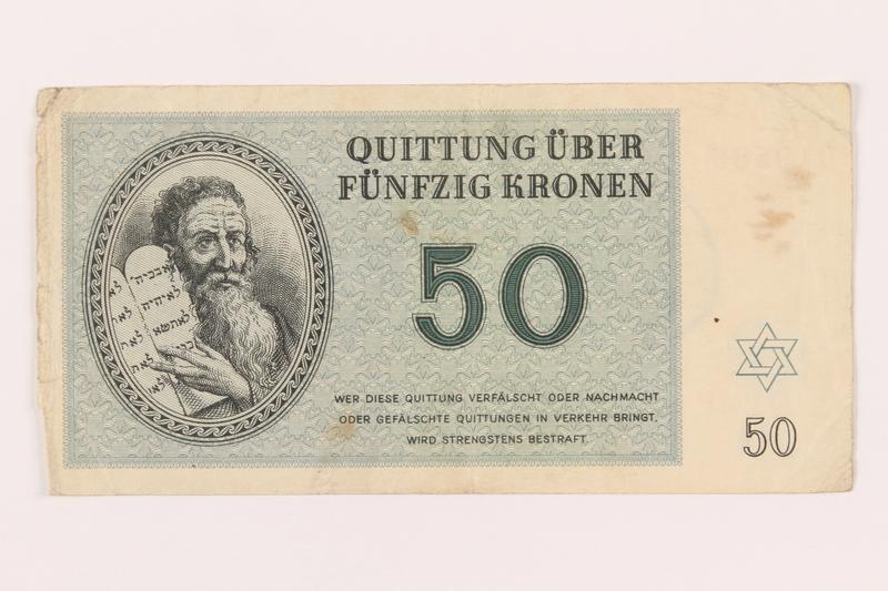 1999.121.23 front Theresienstadt ghetto-labor camp scrip, 50 kronen note