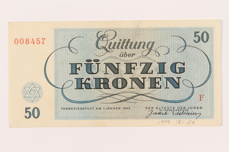 1999.121.24 back Theresienstadt ghetto-labor camp scrip, 50 kronen note