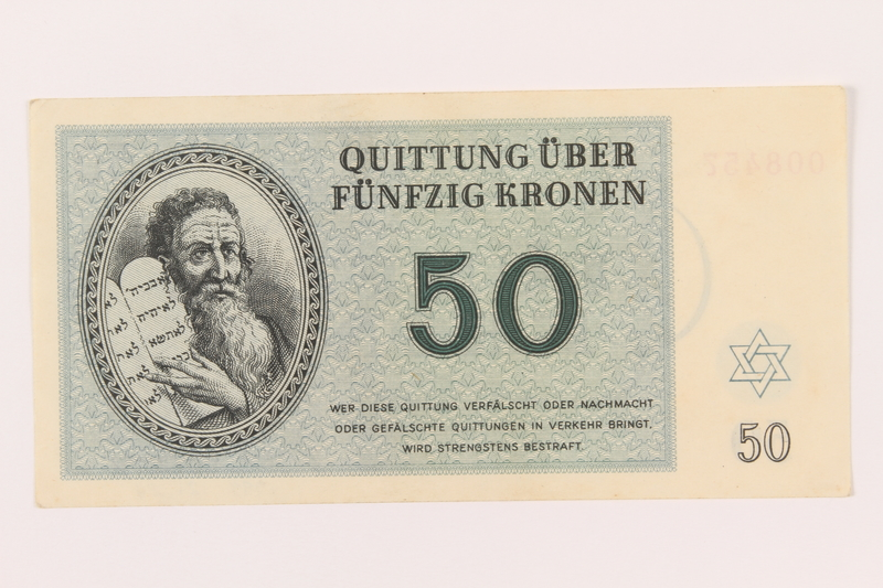 1999.121.24 front Theresienstadt ghetto-labor camp scrip, 50 kronen note