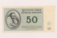 1999.121.24 front Theresienstadt ghetto-labor camp scrip, 50 kronen note  Click to enlarge