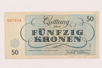 1999.121.25 back Theresienstadt ghetto-labor camp scrip, 50 kronen note  Click to enlarge