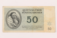1999.121.25 front Theresienstadt ghetto-labor camp scrip, 50 kronen note  Click to enlarge