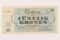 1999.121.26 back Theresienstadt ghetto-labor camp scrip, 50 kronen note  Click to enlarge