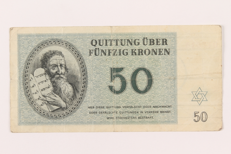 1999.121.26 front Theresienstadt ghetto-labor camp scrip, 50 kronen note