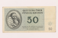 1999.121.26 front Theresienstadt ghetto-labor camp scrip, 50 kronen note  Click to enlarge