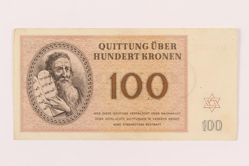 1999.121.27 front Theresienstadt ghetto-labor camp scrip, 100 kronen note