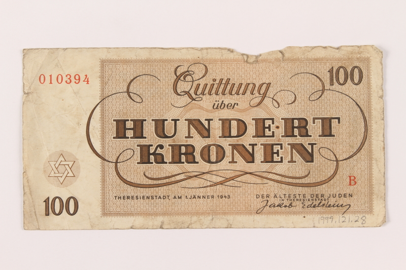 1999.121.28 back Theresienstadt ghetto-labor camp scrip, 100 kronen note