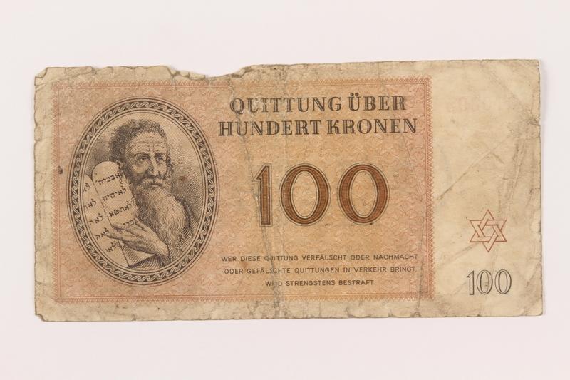 1999.121.28 front Theresienstadt ghetto-labor camp scrip, 100 kronen note
