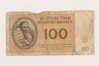 1999.121.28 front Theresienstadt ghetto-labor camp scrip, 100 kronen note  Click to enlarge
