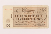 1999.121.29 back Theresienstadt ghetto-labor camp scrip, 100 kronen note  Click to enlarge