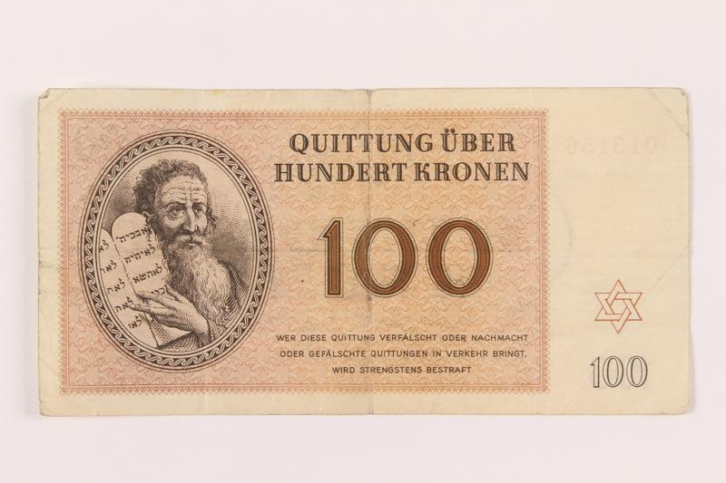 1999.121.29 front Theresienstadt ghetto-labor camp scrip, 100 kronen note