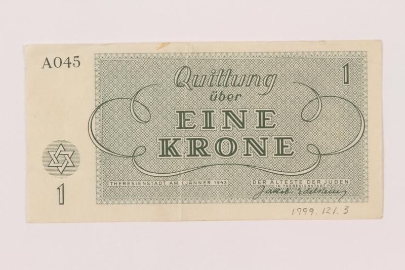 1999.121.3 back Theresienstadt ghetto-labor camp scrip, 1 krone note