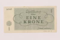 1999.121.3 back Theresienstadt ghetto-labor camp scrip, 1 krone note  Click to enlarge