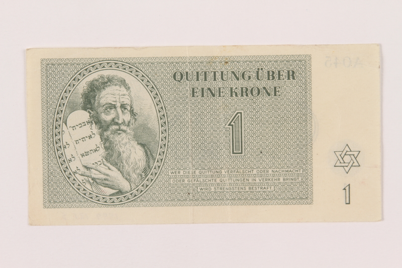 1999.121.3 front Theresienstadt ghetto-labor camp scrip, 1 krone note