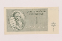1999.121.3 front Theresienstadt ghetto-labor camp scrip, 1 krone note  Click to enlarge