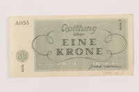 1999.121.5 back Theresienstadt ghetto-labor camp scrip, 1 krone note  Click to enlarge