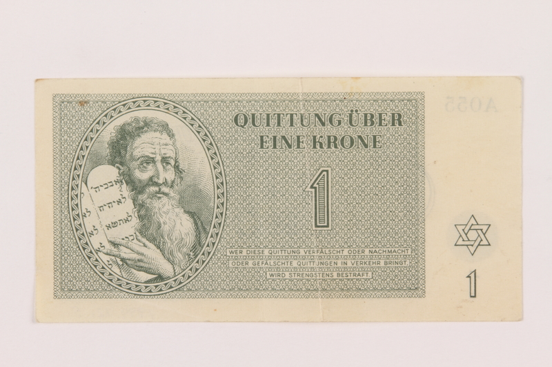 1999.121.5 front Theresienstadt ghetto-labor camp scrip, 1 krone note