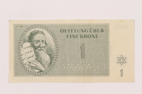 1999.121.5 front Theresienstadt ghetto-labor camp scrip, 1 krone note  Click to enlarge