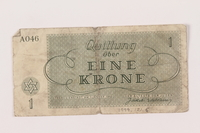 1999.121.6 back Theresienstadt ghetto-labor camp scrip, 1 krone note  Click to enlarge
