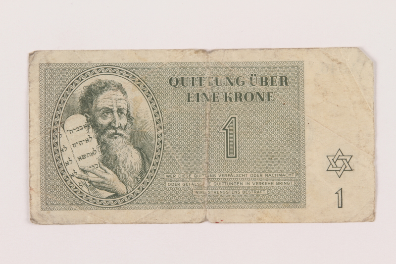 1999.121.6 front Theresienstadt ghetto-labor camp scrip, 1 krone note