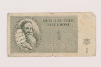 1999.121.6 front Theresienstadt ghetto-labor camp scrip, 1 krone note  Click to enlarge