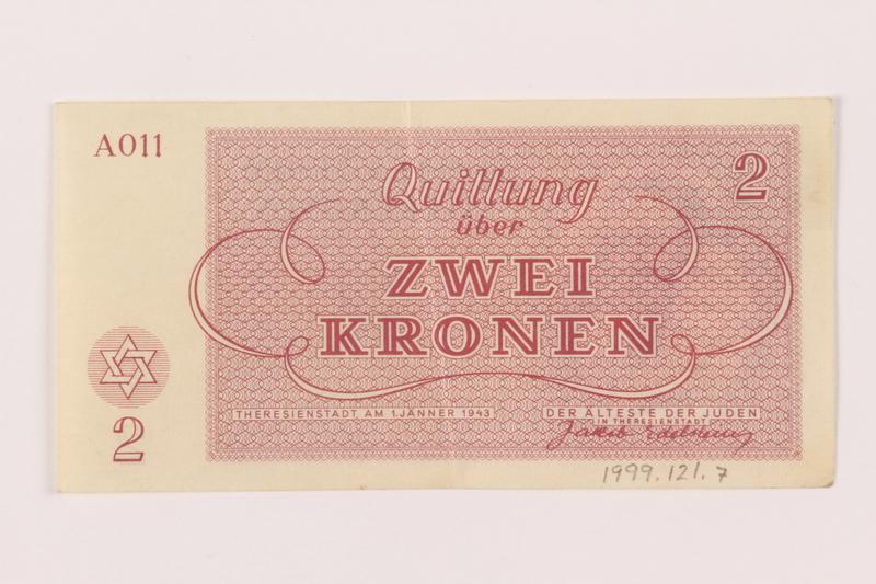 1999.121.7 back Theresienstadt ghetto-labor camp scrip, 2 kronen note