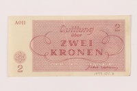 1999.121.7 back Theresienstadt ghetto-labor camp scrip, 2 kronen note  Click to enlarge