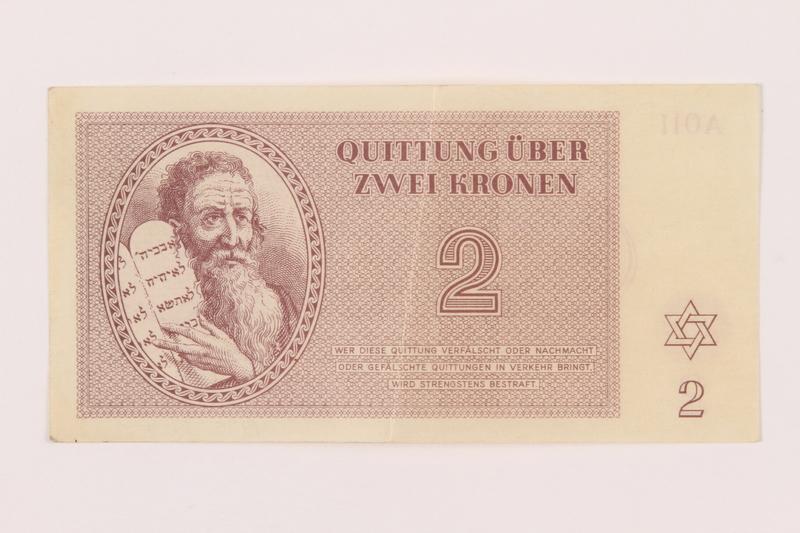 1999.121.7 front Theresienstadt ghetto-labor camp scrip, 2 kronen note