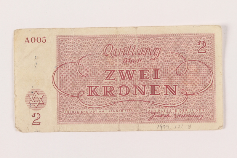 1999.121.8 back Theresienstadt ghetto-labor camp scrip, 2 kronen note