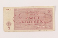 1999.121.8 back Theresienstadt ghetto-labor camp scrip, 2 kronen note  Click to enlarge