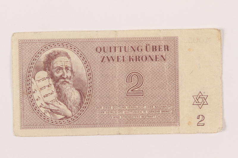1999.121.8 front Theresienstadt ghetto-labor camp scrip, 2 kronen note